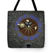 Clocktower in Lucerne on a stone tower Tote Bag by Ashish Agarwal