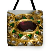 Close Up Of The Middle Pendant Section Of A Green And White Stone Inlaid Necklace Tote Bag by Ashish Agarwal