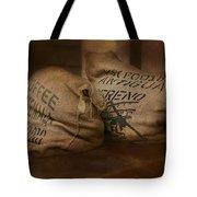 Coffee Beans In Burlap Bags Tote Bag by Susan Candelario