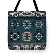 Coffee Flowers Ornate Medallions 6 Piece Collage Mediterranean Tote Bag by Angelina Vick