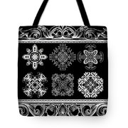 Coffee Flowers Ornate Medallions Bw 6 Piece Collage Framed  Tote Bag by Angelina Vick