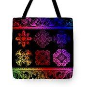 Coffee Flowers Ornate Medallions Color 6 Piece Collage 2 Tote Bag by Angelina Vick