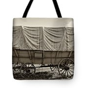 Covered Wagon Sepia Tote Bag by Steve Harrington