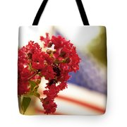 Crapemyrtle And Patriotic Proud Tote Bag by Toni Hopper