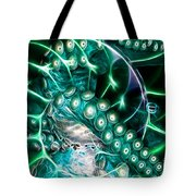 Creatures of The Deep - Octopus Caught In The Swirl Of The Giant Nautilus - Electric - Cyan Tote Bag by Wingsdomain Art and Photography