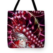 Creatures of The Deep - Octopus Caught In The Swirl Of The Giant Nautilus - Electric - Square - Red Tote Bag by Wingsdomain Art and Photography