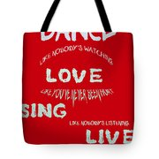 Dance Like Nobody's Watching - Red Tote Bag by Georgia Fowler