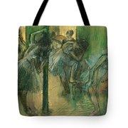 Dancers Rehearsing Tote Bag by Edgar Degas