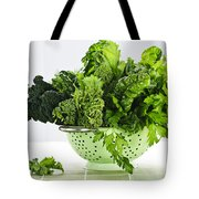 Dark green leafy vegetables in colander Tote Bag by Elena Elisseeva