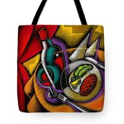 Dinner With Wine Tote Bag by Leon Zernitsky