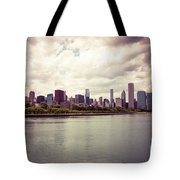Downtown Chicago Skyline Lakefront Tote Bag by Paul Velgos