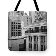 Downtown San Francisco Buildings - 5D19323 - Black and White Tote Bag by Wingsdomain Art and Photography