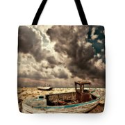 Dreamy Wrecked Wooden Fishing Boats Tote Bag by Meirion Matthias
