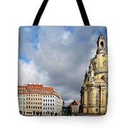 Dresden Church Of Our Lady And New Market Tote Bag by Christine Till