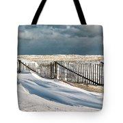 Drifting Snow Along The Beach Fences At Nauset Beach In Orleans  Tote Bag by Matt Suess