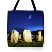 Drombeg, County Cork, Ireland Moon Over Tote Bag by Richard Cummins