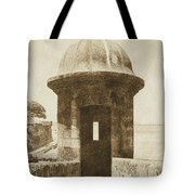 Entrance To Sentry Tower Castillo San Felipe Del Morro Fortress San Juan Puerto Rico Vintage Tote Bag by Shawn O'Brien