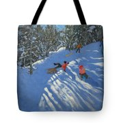 Falling Off The Sledge Tote Bag by Andrew Macara