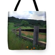 Fence And Poppies Tote Bag by Kathy Yates