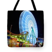 Ferris wheel at night Tote Bag by Stylianos Kleanthous