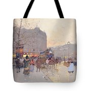 Figures In The Place De La Bastille Tote Bag by Eugene Galien-Laloue