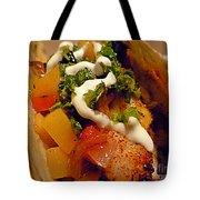 Fish Taco With Mango Salsa Tote Bag by Renee Trenholm