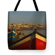 Fishing Boats In Front Of Kasbah Des Tote Bag by Axiom Photographic