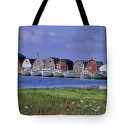Fishing Shacks Line The Bay At Malpeque Tote Bag by Leanna Rathkelly