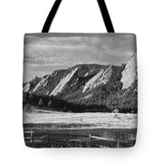 Flatirons From Chautauqua Park Bw Tote Bag by James BO  Insogna