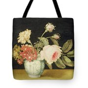 Flowers In A Delft Jar  Tote Bag by Alexander Marshal