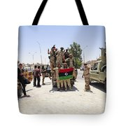 Free Libyan Army Troops Pose Tote Bag by Andrew Chittock