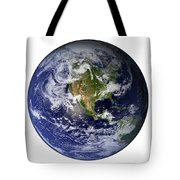 Full Earth Showing North America White Tote Bag by Stocktrek Images