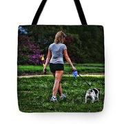 Girl Walking Dog Tote Bag by Paul Ward