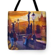 Golden Prague Charles Bridge Sunset Tote Bag by Yuriy  Shevchuk
