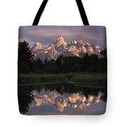 Grand Teton Range And Cloudy Sky Tote Bag by Tim Fitzharris