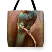 Green Parrot Tote Bag by Ylli Haruni