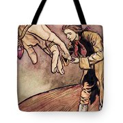 Gulliver In Brobdingnag Kissing The Hand Of The Queen Tote Bag by Arthur Rackham