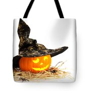 Halloween Pumpkin With Witches Hat Tote Bag by Amanda Elwell
