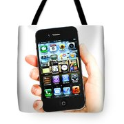 Hand Holding An Iphone Tote Bag by Photo Researchers