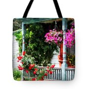 Hanging Baskets And Climbing Roses Tote Bag by Susan Savad