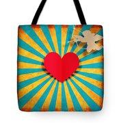 Heart And Cupid On Paper Texture Tote Bag by Setsiri Silapasuwanchai