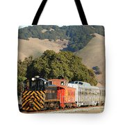 Historic Niles Trains in California . Old Southern Pacific Locomotive and Sante Fe Caboose . 7D10818 Tote Bag by Wingsdomain Art and Photography