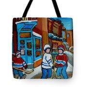 Hockey Game Corner Clark And Fairmount Wilenskys Paintings Tote Bag by Carole Spandau