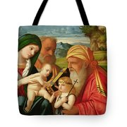 Holy Family with St. Simeon and John the Baptist Tote Bag by Francesco Rizzi da Santacroce