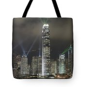 Hong Kong Light Show, At Night, Over Tote Bag by Axiom Photographic