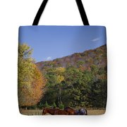 Horses And Autumn Landscape Tote Bag by Kathy Clark