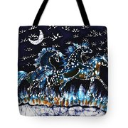 Horses Frolic On A Starlit Night Tote Bag by Carol Law Conklin