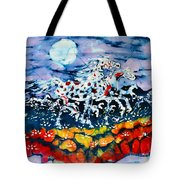 Horses Prance On Flower Field In Summer Moon Tote Bag by Carol Law Conklin