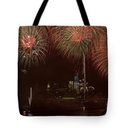 Hudson River Fireworks Xii Tote Bag by Clarence Holmes