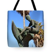 Huntington Beach Surfer Statue Tote Bag by Paul Velgos